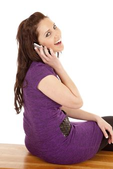 Free Woman In Purple Back On Phone Smile Royalty Free Stock Images - 18469509