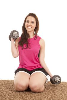 Woman Kneeling Weights Royalty Free Stock Photos