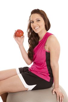 Free Woman On Fitness Ball With Apple Royalty Free Stock Photography - 18469627