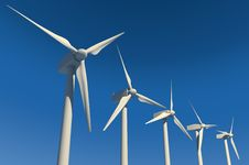 Wind Turbines On Blue Sky Royalty Free Stock Photos