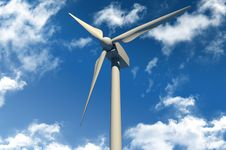 Free Wind Turbinee On Blue Sky Royalty Free Stock Photography - 18470087