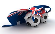 Free Two Soccer Balls Hold Australia Flag Royalty Free Stock Photos - 18470918