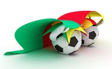 Free Two Soccer Balls Hold Cameroon Flag Stock Photo - 18471060