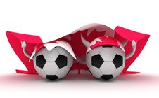 Two Soccer Balls Hold Canada Flag Royalty Free Stock Image