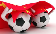 Free Two Soccer Balls Hold China Flag Royalty Free Stock Photography - 18471137
