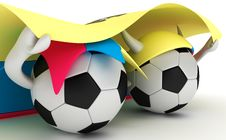 Free Two Soccer Balls Hold Ecuador Flag Stock Image - 18471341