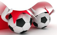 Free Two Soccer Balls Hold Poland Flag Stock Image - 18471471