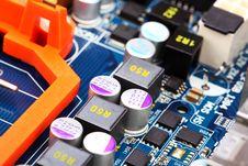 Computer Motherboard Closeup Stock Photo