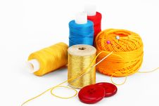 Free Colored Thread, Needles Royalty Free Stock Photos - 18472458