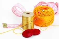Free Colored Thread, Needles Royalty Free Stock Photos - 18472468