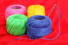 Free Colored Thread, Needles Stock Photography - 18472692