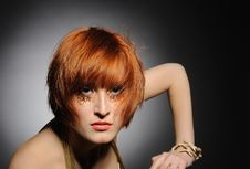 Free Beautiful Red Haired Woman With Creative Make-up Royalty Free Stock Photography - 18474257
