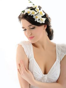 Free Beautiful Fresh Spring Woman With Flowers Royalty Free Stock Images - 18474309