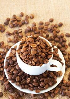 Free Cup Filled With Coffee Beans Stock Photos - 18474723