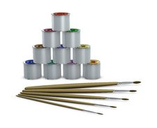 Free Color Tins And Paintbrushes Stock Photo - 18475400