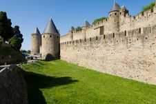 Tower And Moat Of Carcassonne Chateau Royalty Free Stock Images