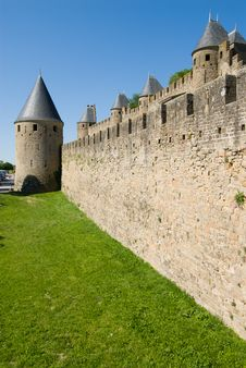 Tower And Moat Of Carcassonne Chateau Stock Photo