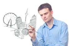 Free Businessman Drawing A City Of The Future Royalty Free Stock Photos - 18477348