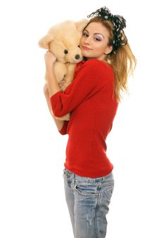 Free Cheerful Blonde Woman Hugging A Teddy Bear Stock Photo - 18477720