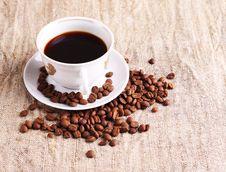 Free Coffee Cup And Grain Onon A Textile. Still-life Stock Photos - 18477743