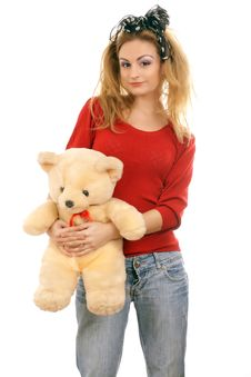 Free Cheerful Blonde Woman Hugging A Teddy Bear Royalty Free Stock Photo - 18477745