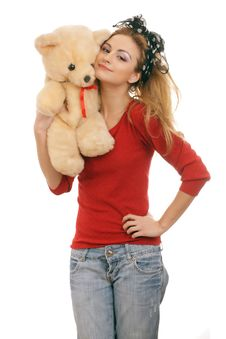 Free Cheerful Blonde Woman Hugging A Teddy Bear Stock Images - 18477764