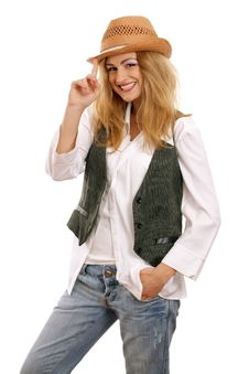 Free Happy Beautiful Blonde Model With Hat Royalty Free Stock Images - 18477799