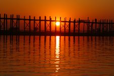 Free Landscape Of Wooden Bridge At Sunset Royalty Free Stock Photography - 18478127