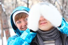 Free Young Playful Couple Has A Fun. Winter Royalty Free Stock Photos - 18478158