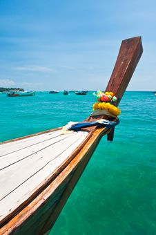 Long Tailed Boat At Phi-phi Island In Thailand Royalty Free Stock Photography