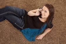Free Woman On Floor Phone Top View Royalty Free Stock Photos - 18479578