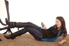 Free Woman Phone Floor Shocked Stock Image - 18479651