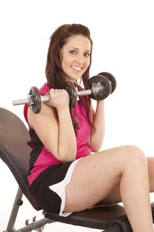 Woman Pink Tank Top Weights Royalty Free Stock Photo