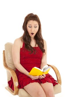Free Woman Red Dress Book Sit Shocked Stock Photo - 18479870
