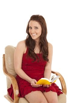 Free Woman Red Dress Book Sit Smile Stock Photos - 18479903