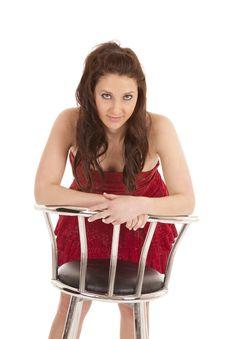 Woman Red Dress Forward Barstool Royalty Free Stock Photo
