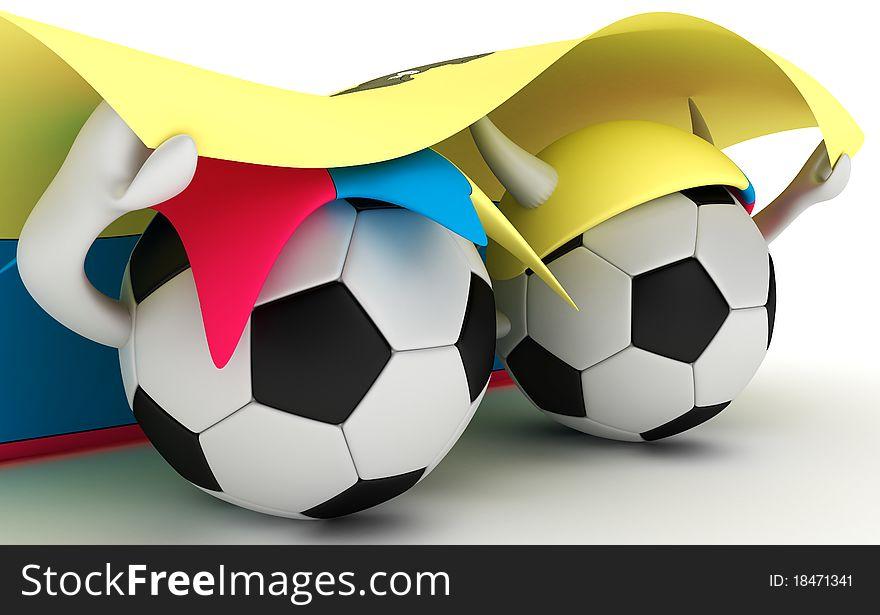 Two soccer balls hold Ecuador flag
