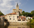 Free Medieval French Riverside Village With Church Royalty Free Stock Image - 18480096