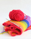 Free Knitting A Colorful Scarf Stock Images - 18481974