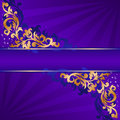 Free Blue Banner With Gold Ornaments Stock Photography - 18482062