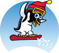 Free Penguin Snowboarder Stock Images - 18484184
