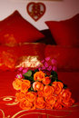Free Bridal Bouquet On A Red Bed Royalty Free Stock Photos - 18486658