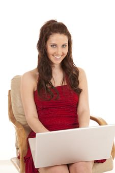 Free Woman Red Dress Sit Laptop Smile Look Stock Images - 18480054