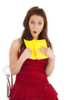 Free Woman Red Dress Surprised At Book Stock Image - 18480081