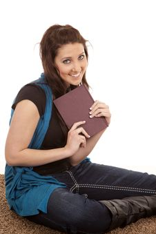 Free Woman Sitting On Floor Holding Book Royalty Free Stock Photography - 18480247