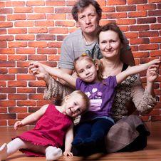 Free Happy Seniors Couple With Grandchildren Royalty Free Stock Photos - 18480298