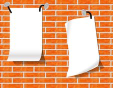 Free Sheets Of Paper On A Brick Wall. Royalty Free Stock Photo - 18480745