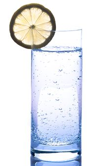 Free Water Glass With Lemon Royalty Free Stock Images - 18480959