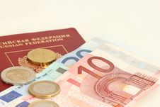 Free A Russian Foreign Passport With Euro Coins Royalty Free Stock Photo - 18481655