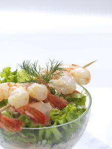 Free Seafood Souvlaki  And Salad Royalty Free Stock Images - 18481659